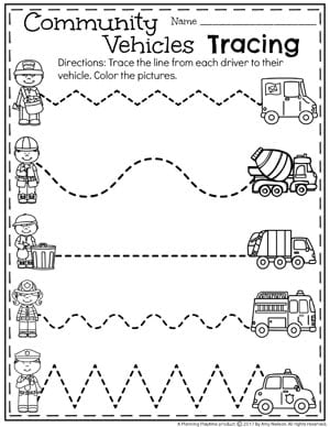 Preschool Community Helpers Unit for Preschool - Tracing Worksheets