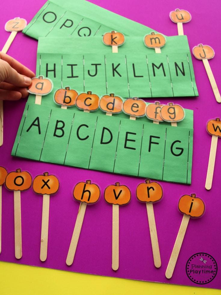 Preschool Letter Matching Activity for October