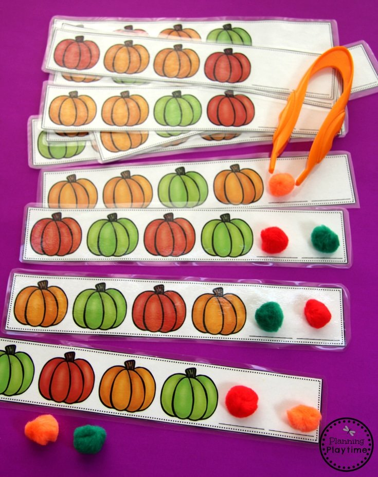 Pumpkin Patterns. Fun Preschool Center for October.