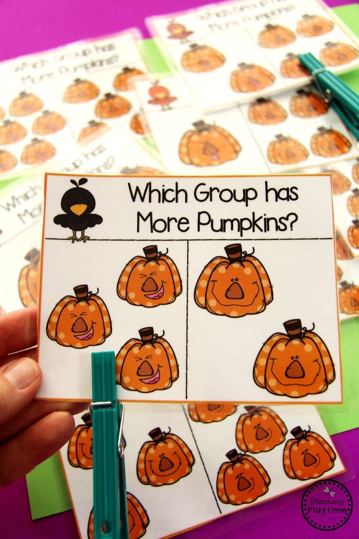 Pumpkin Preschool Activities - Greater than Less than Clip Cards.