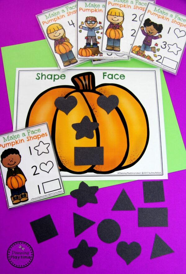 Pumpkin Preschool Activities - Make the Face with Shapes