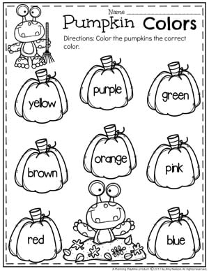 Pumpkin Preschool Color Worksheets for October.
