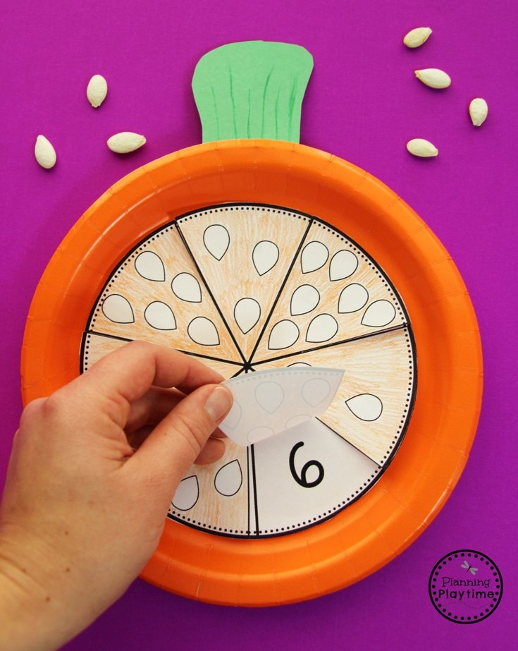 Pumpkin Preschool Craft - Count and Check Seeds