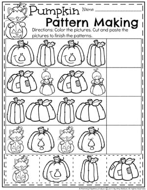 Pumpkin Preschool Worksheets for October - Pumpkin Pattern Making