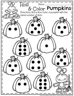 Pumpkin Preschool Activities  Planning Playtime Roll And Color Pumpkins Worksheet For Preschool Or Kindergarten