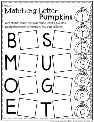Upper and Lowercase Letter Worksheet for Preschool - Pumpkin Activities for October