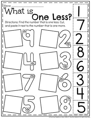 What is One Less - Comparing Numbers Worksheets for Kindergarten