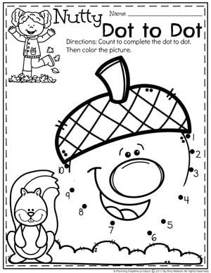 Acorn Dot to Dot - Fall Preschool Worksheets