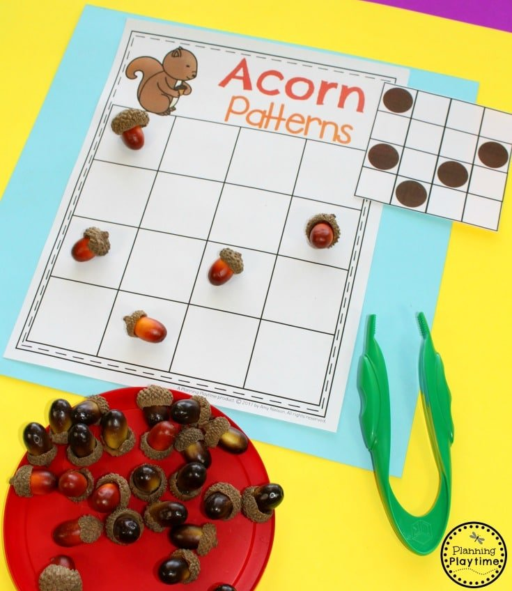 Acorn Pattern Making Cards - Fun Patterns Activity for Preschool