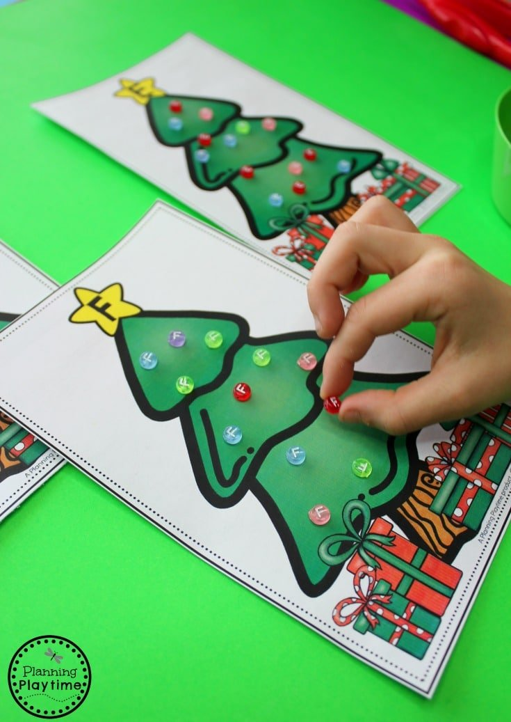 Alphabet Letter Bead Christmas Tree Decorating - Preschool Christmas Activities