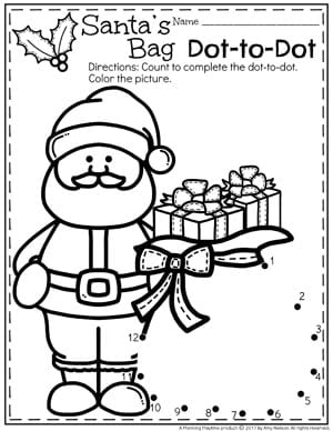 Christmas Dot to Dot Coloring Page for preschool kids.