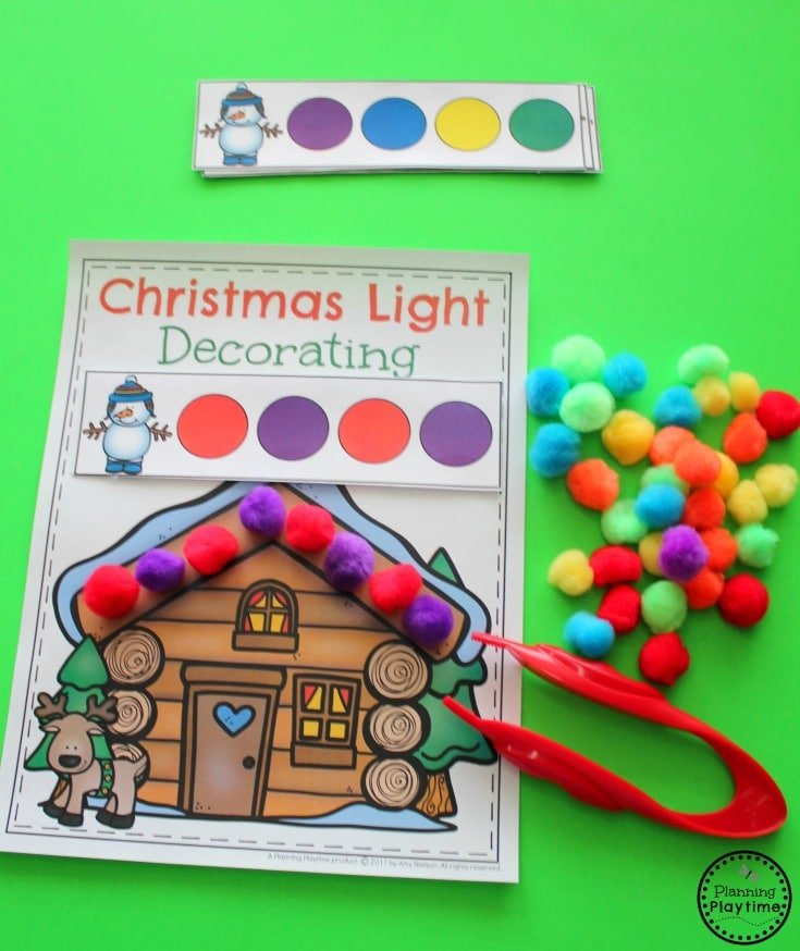 Christmas Light Decorating - Preschool Patterns Activity