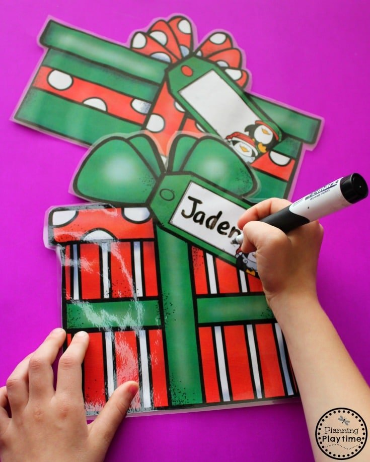 Christmas Name Writing Practice for Preschool