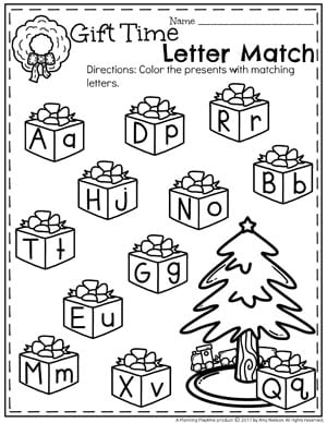 Christmas Preschool Worksheets - Alphabet Matching for kids.