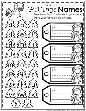 Christmas Preschool Worksheets - Name Writing Practice.