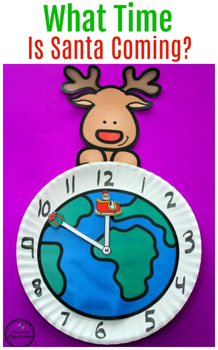 Christmas Telling Time Activity - What time is Santa Coming