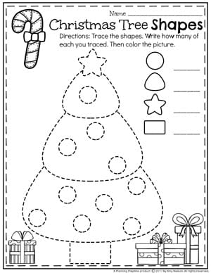 Christmas Tree Shapes Worksheet for Preschool.