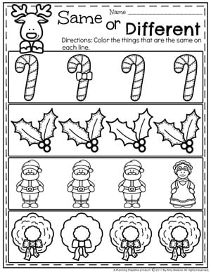 Christmas Worksheets for Preschool - Same or Different
