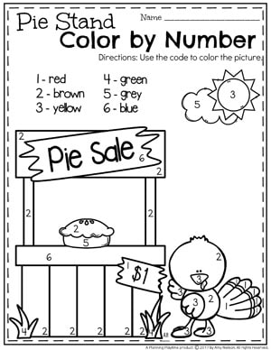 Color By Number Worksheets for Thanksgiving - Turkey's Pie Stand