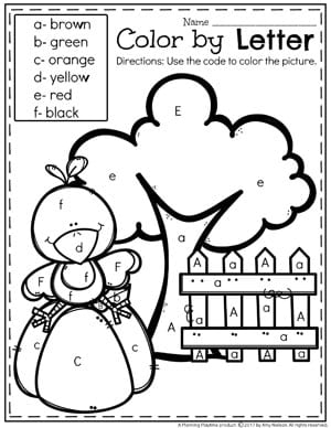 Color by Letter Worksheet for Preschool - Fun Preschool Activities for Fall.