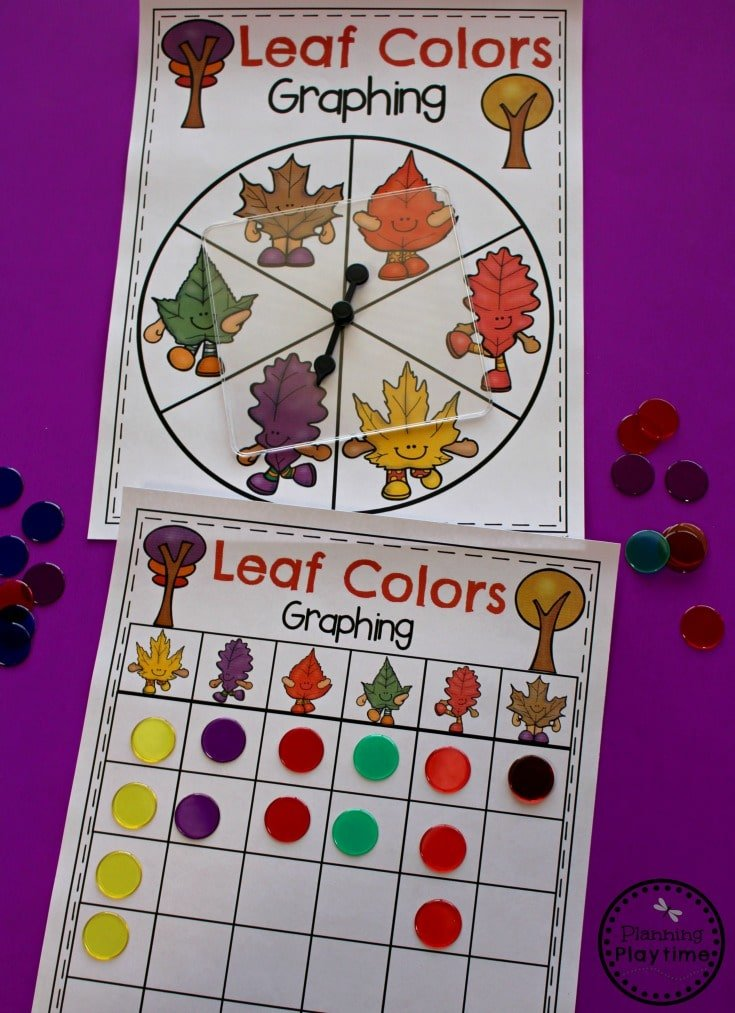 Fall Leaf Colors Activity for Preschool - Spin and Graph Fall Leaves.
