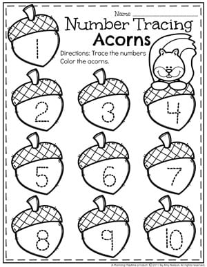 Fall Number Tracing Worksheets for Preschool.