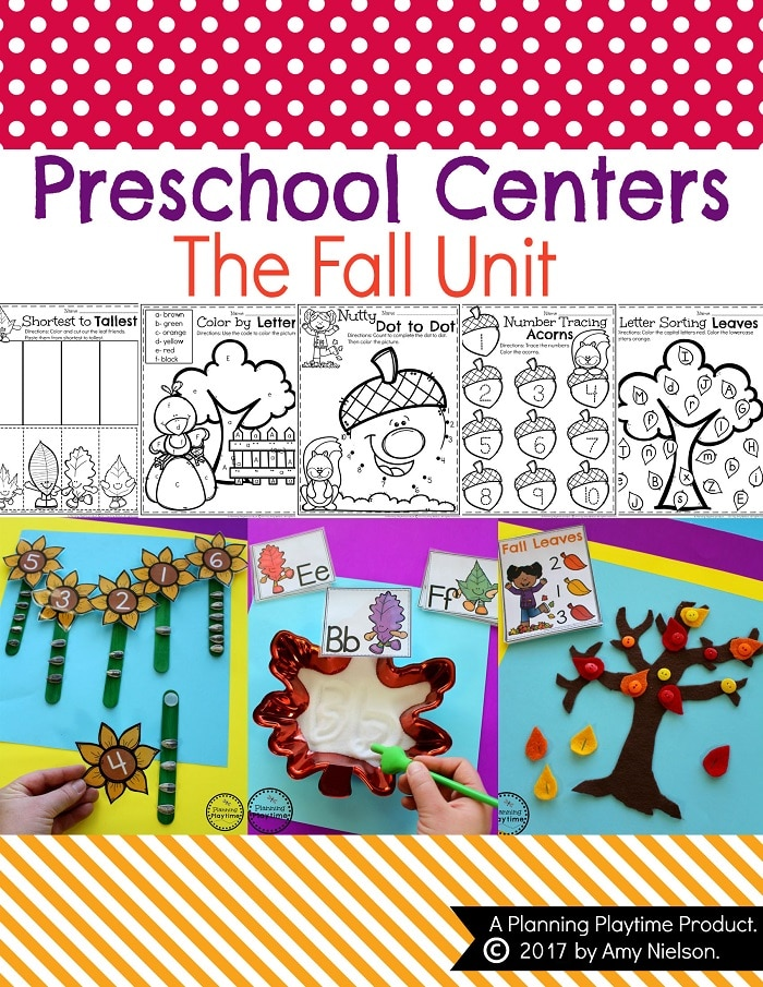 Fall Preschool Unit - Centers and Worksheets.