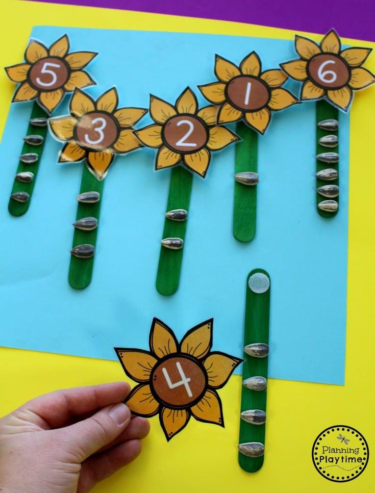 Fall Preschool Counting Activity - Sunflower Sensory Sticks