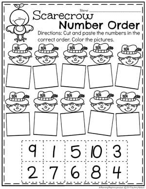 Fall Preschool Worksheets - Scarecrow Number Order.