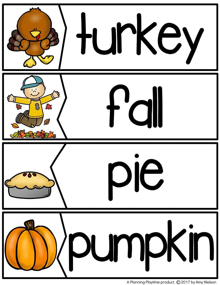 Fall Word Puzzles for a November Word Wall.