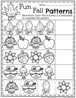 Fun Fall Patterns Worksheet for Preschool.