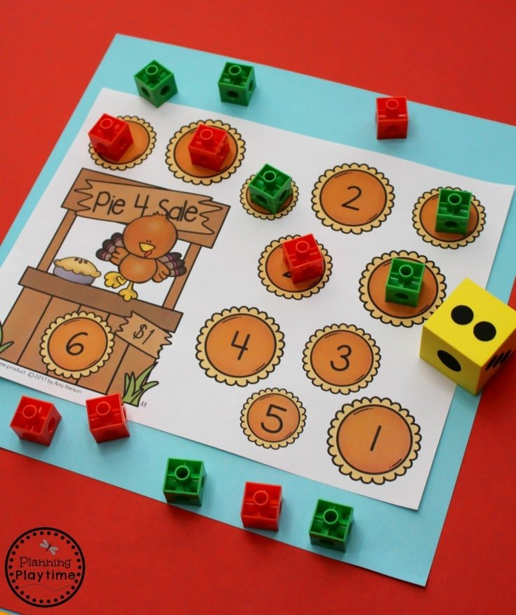 Fun Preschool Counting Game for a Thanksgiving Theme