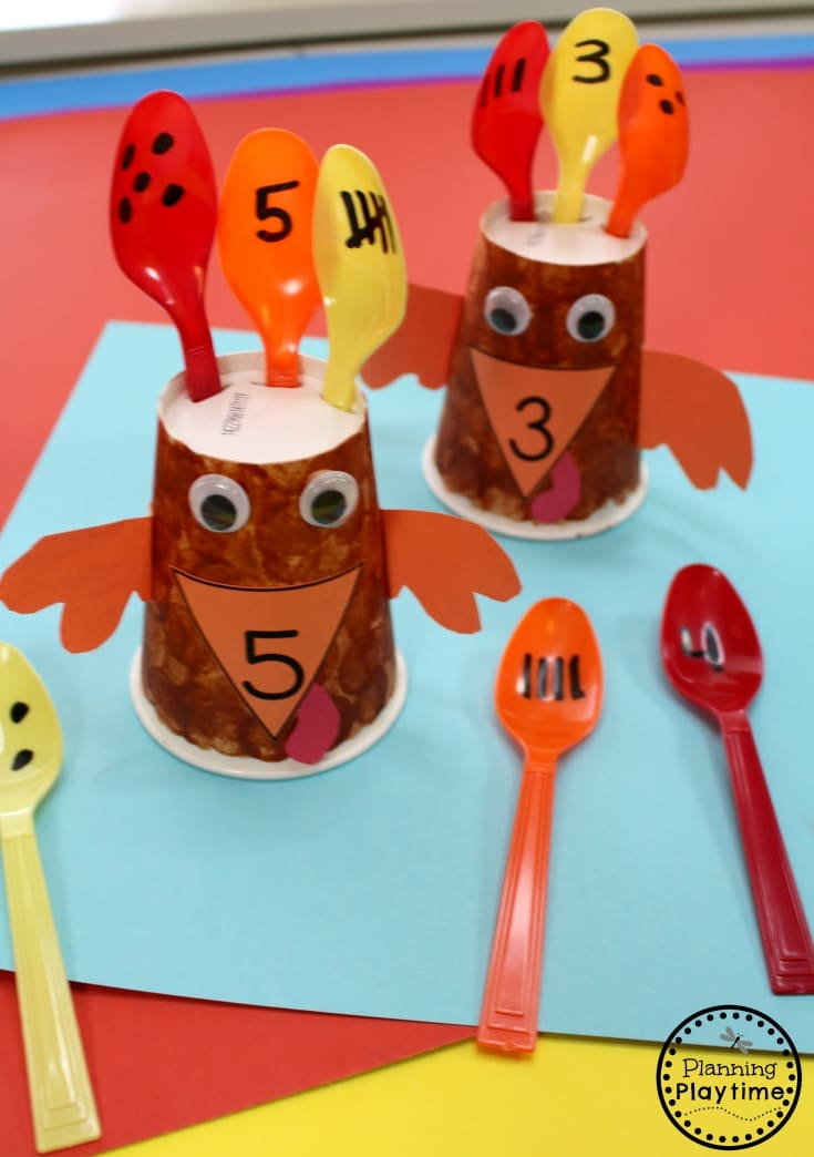 Fun Turkey Subitizing Activity for Preschool - Thanksgiving Preschool Unit.