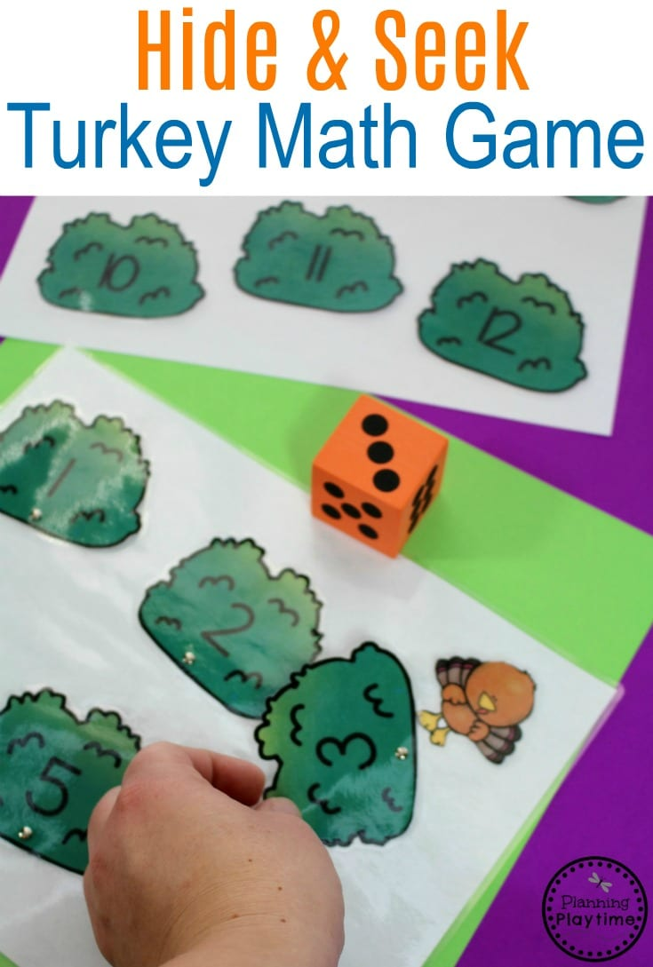 Hide and Seek Turkey - Roll and Count activity for Preschool.