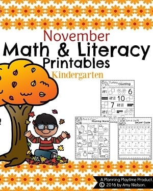 November Kindergarten Worksheets