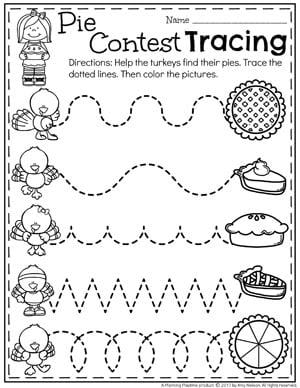 Pie Contest Tracing - Preschool Worksheets for Thanksgiving