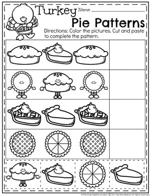 Pie Patterns Worksheet - Thanksgiving Preschool Worksheets