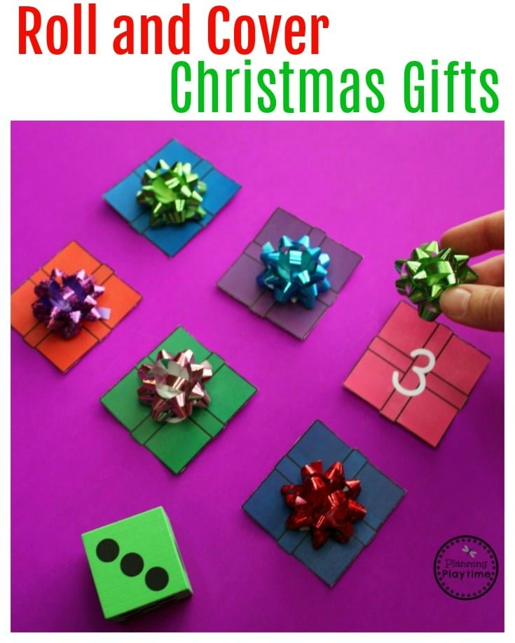 Preschool Christmas Counting Activity - Roll and Cover Gifts.