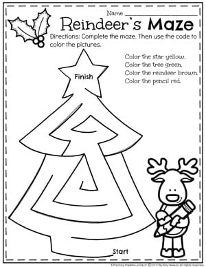 Preschool Christmas Worksheets - Reindeer's Maze