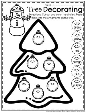 Preschool Color Worksheets - Christmas Worksheets for Preschool
