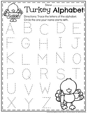 ... Preschool Letter Tracing Worksheets   Thanksgiving Preschool Worksheets  ...
