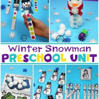 Preschool Snowman Unit for Winter #preschool #winterworksheets #snowmantheme #planningplaytime
