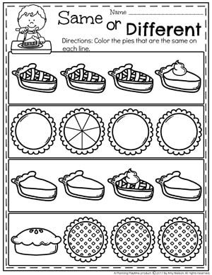 Preschool Thanksgiving Worksheets - Same or Different Pies