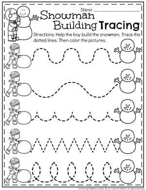 Preschool Tracing Worksheets for Winter - Snowman Preschool Theme