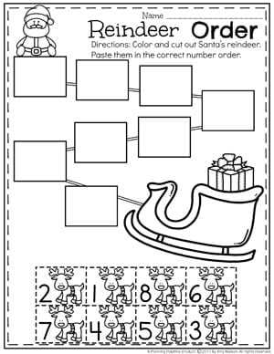 Reindeer Number Order Worksheet for Preschool
