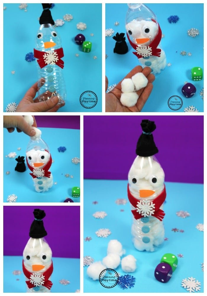 Roll and Fill Snowman Counting Activity for Kids.