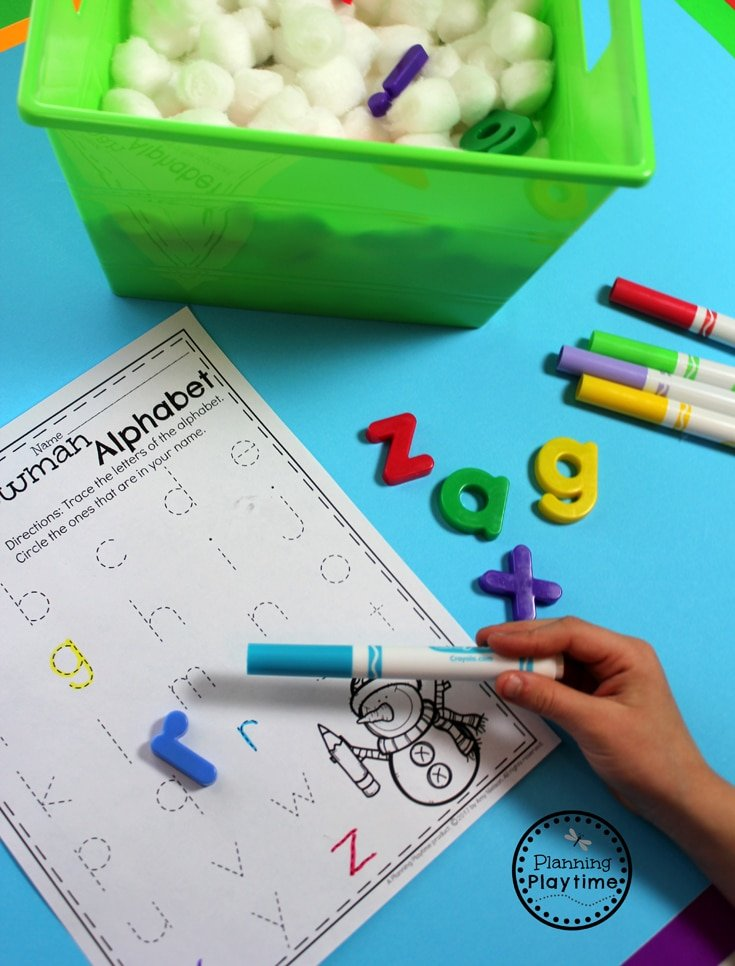 Sensory Snowball Letter Hunt Activity for Preschool
