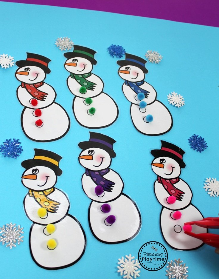 Snowman Color Matching Activity for Preschool.