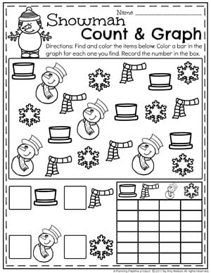 Snowman Graphing Worksheet for Preschool - Fun Winter Preschool Theme