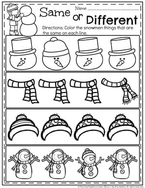 Snowman Same or Different Worksheets for Preschool.